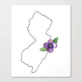 new jersey // watercolor violet state flower map purple Canvas Print