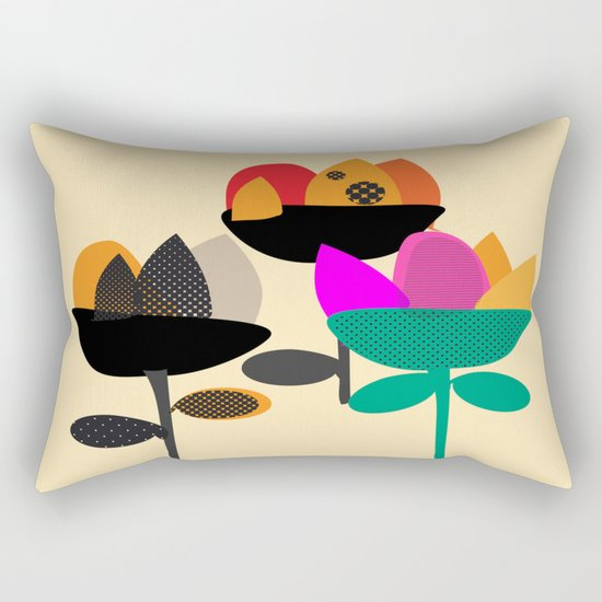Three Flowers Rectangular Pillow