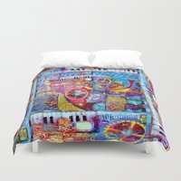 steam punk Duvet Covers featuring Abstract Steam Punk Music Collage by SharlesArt