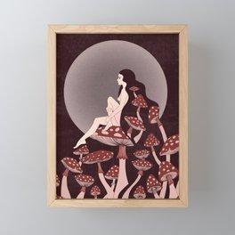 Mushroom Queen, 70s, 60s, 1920s, art nouveau inspired art Framed Mini Art Print