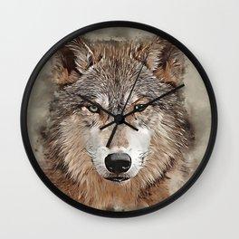 Watercolor Wolf Wall Clock