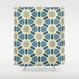Somerset ink blue trinkets on beige khaki pattern Shower Curtain