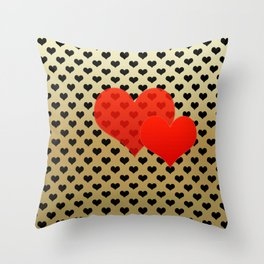 Two red hearts in tandem on black hearts pattern Throw Pillow