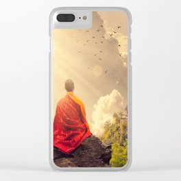 Meditating Monk Clear iPhone Case