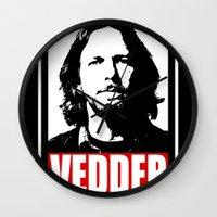 eddie vedder Wall Clocks featuring Eddie Vedder by Darkside-Shirts