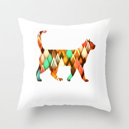 Brown diamonds Catss Throw Pillow