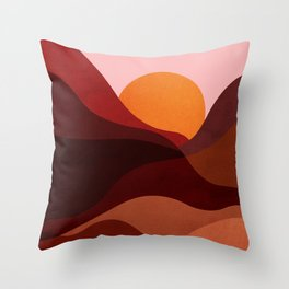 Abstraction_Mountains_SUNSET_Minimalism Throw Pillow