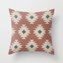 Southwestern Pattern 536 Teal Green and Brown Throw Pillow