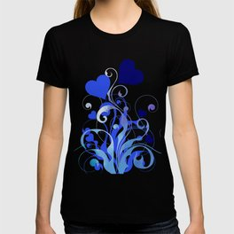 Whimsical Blooming Blue Hearts T-shirt