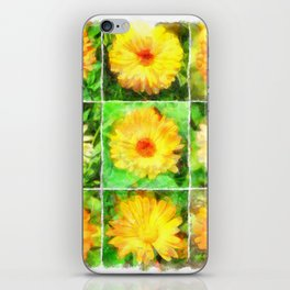Watercolour Collage of Yellow And Orange Marigolds iPhone Skin