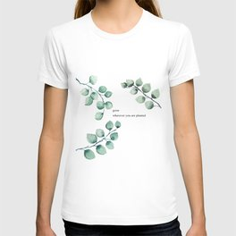 Grow wherever you are planted watercolor florals T-shirt