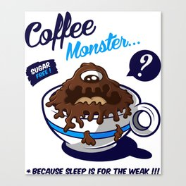 Coffee Monster Blue Canvas Print