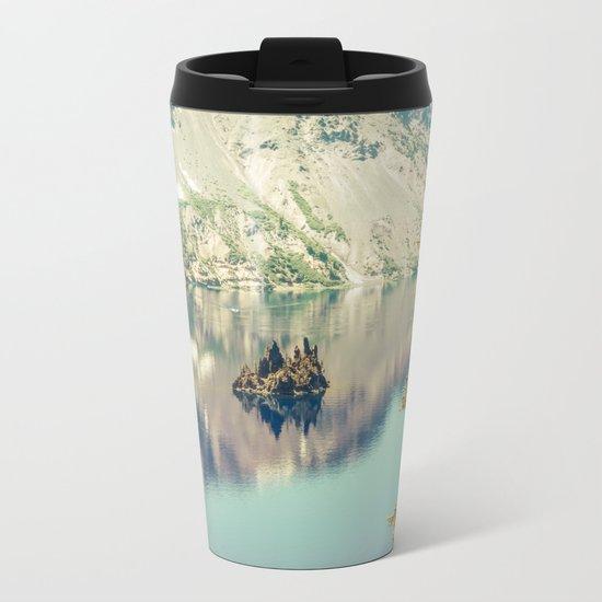 Crater Lake Oregon Phantom Ship Island Metal Travel Mug