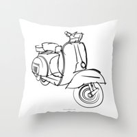 vespa Throw Pillows featuring Vespa by tuditees