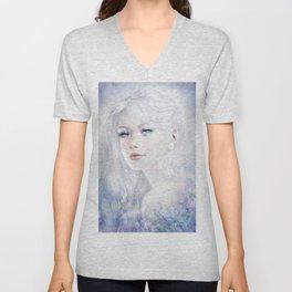 Snow white hair ice girl Unisex V-Neck