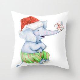 Cute Christmas Elephant Throw Pillow