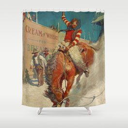 "N C Wyeth Western Painting ""The Rodeo"" Shower Curtain"
