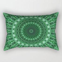 Detailed mandala in light and dark green tones Rectangular Pillow