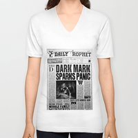 newspaper V-neck T-shirts featuring Daily Prophet newspaper  by Basma Gallery