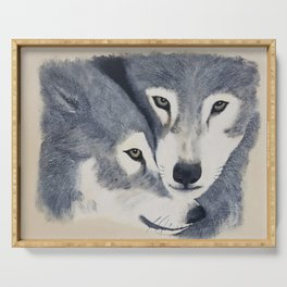 Wolf Pack - Original textured painting Serving Tray