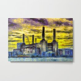 Battersea Power Station Van Gogh Metal Print