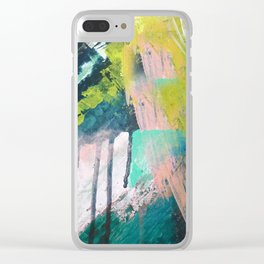 Melt: a vibrant abstract mixed media piece in blues, greens, pink, and white Clear iPhone Case