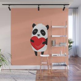 Panda love. Cute cartoon illustration Wall Mural