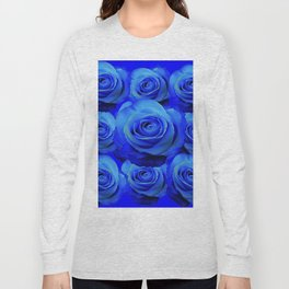 AWESOME BLUE ROSE GARDEN  PATTERN ART DESIGN Long Sleeve T-shirt