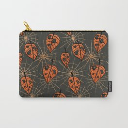 Orange Leaves With Holes And Spiderwebs Carry-All Pouch