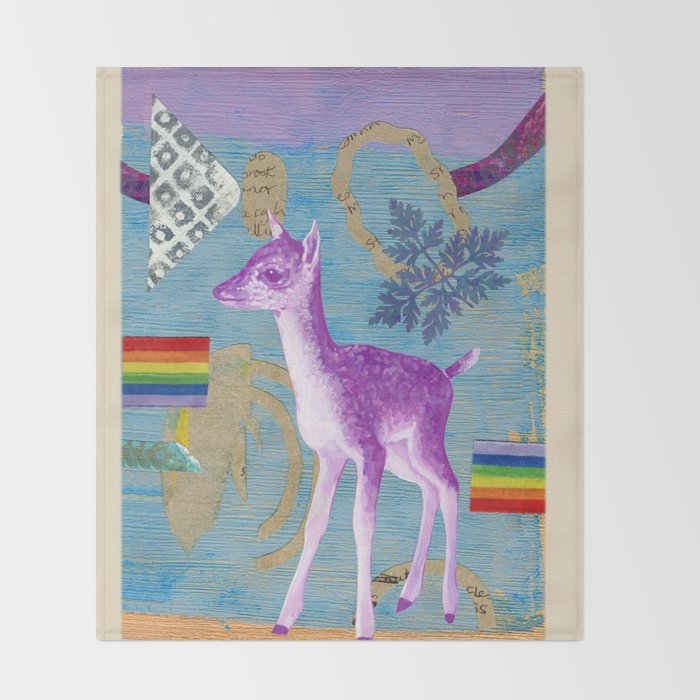 rainbow deer 2 Throw Blanket