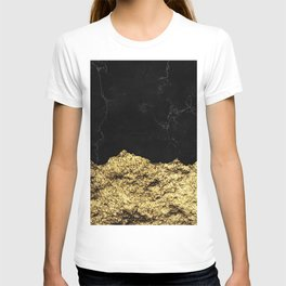 Rough Gold Torn and Black Marble T-shirt