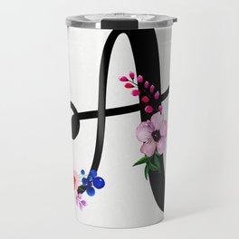 Letter A Watercolor Floral Background Travel Mug