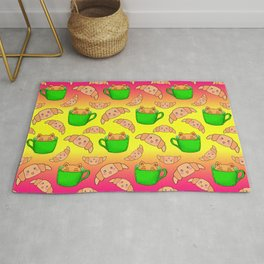 Cute happy playful funny Kawaii baby kittens sitting in little green espresso coffee cups, sweet adorable yummy croissants cartoon sunny yellow bright pink design. Rug