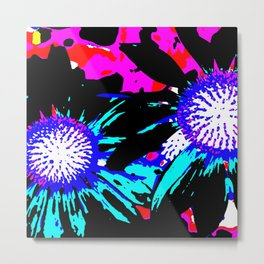Black Funky Flowers Metal Print