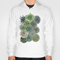 succulents Hoodies featuring An Assortment of Succulents by ECMazur