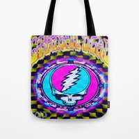 grateful dead Tote Bags featuring Grateful Dead #11 Optical Illusion Psychedelic Design by CAP Artwork & Design