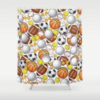 sport Shower Curtains featuring Sport Balls by Martina Marzullo Art