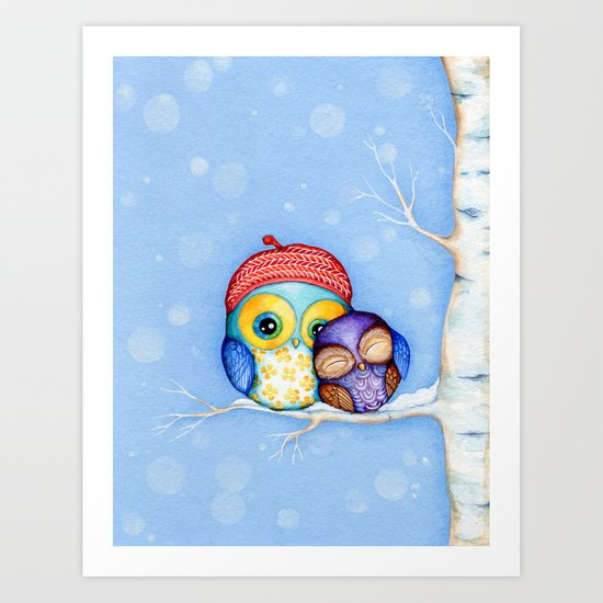 Owl in a Little Red Beret Art Print