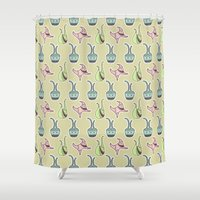 sticker Shower Curtains featuring sticker monster pattern 5 by freshinkstain