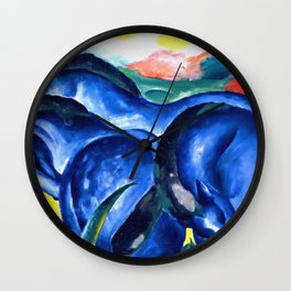 Franz Marc - The Large Blue Horses (Die grossen blauen Pferde) 1911 Artwork Reproduction for Wall Art, Prints, Tshirts, Men, Women, Kids Wall Clock