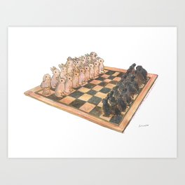 Bunny chess Art Print