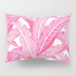 Pink banana leaves tropical pattern on white Pillow Sham