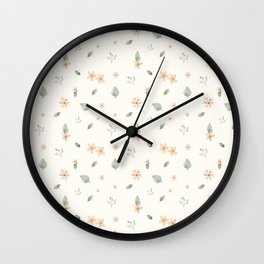 Flowers and Leaves Wall Clock