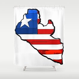Liberia Map with Liberian Flag Shower Curtain