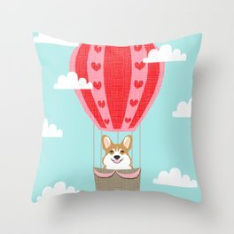 Corgi hot air balloon funny dog art cute puppy nursery Throw Pillow