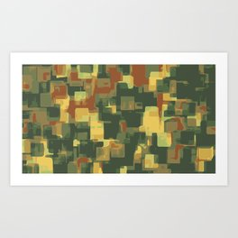 green and brown square painting abstract background Art Print