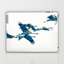 Beautiful Cranes in white background Laptop & iPad Skin