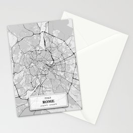 Rome Italy City Map with GPS Coordinates Stationery Cards