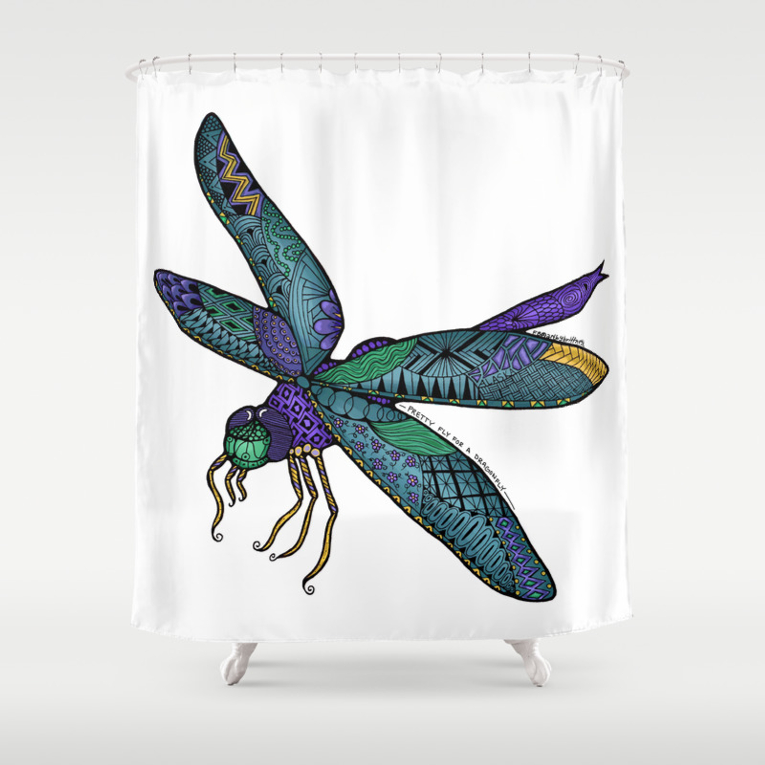 Pretty Fly For A Dragonfly Shower Curtain