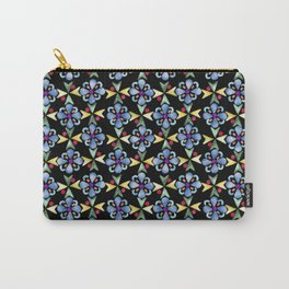Spring Flower Rubber Stamp Pattern Design (Black Background) Carry-All Pouch
